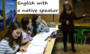Teenagers and their English lesson with a native speaker.